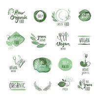 Satz gezeichnete Aquarellzeichen der organischen Nahrungsmittelhand vektor
