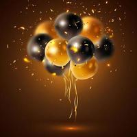glänsande svarta, guldballonger vektor