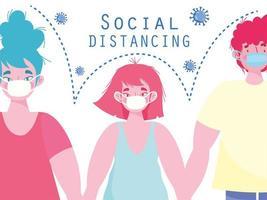 covid-19 social distansering design vektor