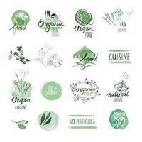 uppsättning ekologiska livsmedel handritad akvarell tecken