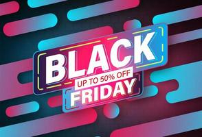 svart fredag banner neon formgivningsmall vektor