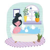 ung kvinna som kopplar av i badkaret inomhus skyddar från covid-19 vektor