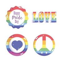 glad stolthet dag, rainbow lgbt community badge set vektor