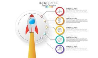 Timeline-Infografik-Vorlage mit 5 Elementen