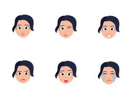 uppsättning söta tjejhuvuden med olika ansiktsuttryck