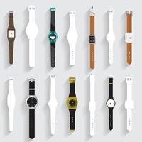 Grafische Uhr und weiße Silhouette eingestellt vektor