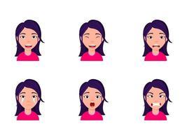 söt unge flicka med olika ansiktsuttryck vektor