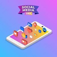 Social Media Day Poster mit Symbolen auf dem Smartphone vektor