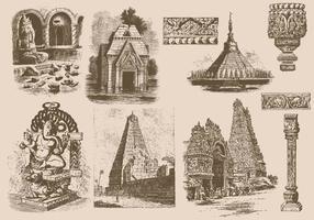 Indien skulpturer och tempel