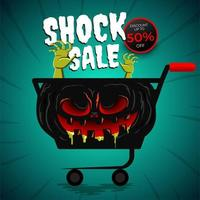 halloween försäljningsaffisch med läskig kundvagn vektor