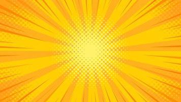 Pop-Art-Hintergrund mit gelbem Licht, das von der Mitte gestreut wird
