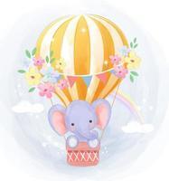 söt liten elefant som flyger i luftballong vektor