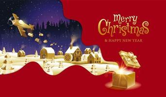 röd och guld jul design med plan släppa gåvor
