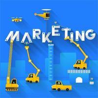 Marketing-Text-Konzept mit Baustellengestaltung vektor