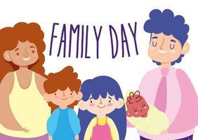 Mutter, Vater und Kinder zur Feier des Familientags