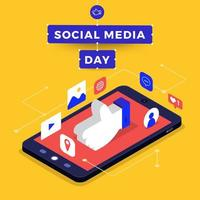 sociala medier dag affisch med liknande hand på smartphone vektor