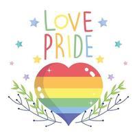 glad stolthet dag, regnbåghjärta med grenar och stjärnor vektor