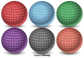Färgglada 3D abstrakt vektor Dodgeball Balls