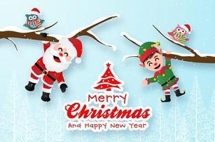 Weihnachtspostkarte mit Weihnachtsmann und Elf vektor