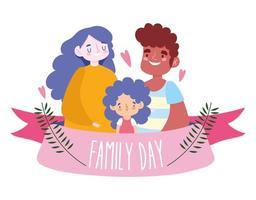 mor, far och dotter för familjefest
