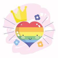 glad stolthet dag, regnbåghjärta med krona och blommor vektor