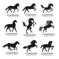 häst silhuett logotyp set vektor