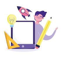 Online-Bildungskonzept mit jungem Mann mit Tablette vektor
