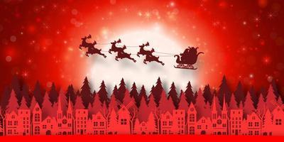 Weihnachtsbanner im Papierschnittstil