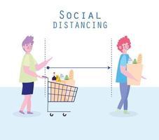 covid-19 soziale distanzierende Menschen im Groecery Queue Design