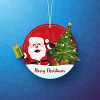 söt jul dekorativ tagg med jultomten vektor