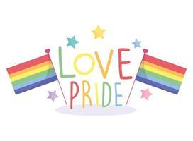 glad stolthet dag, regnbågsflaggor, stjärnor firande design vektor