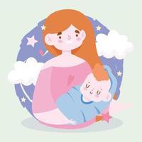 mor och barn med moln och stjärnor vektor