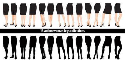 Satz Frauenbeine in Schuhen und Rock mit hohen Absätzen