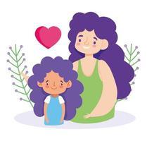mor och dotter med löv och hjärta vektor