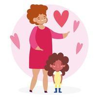 mor och dotter med hjärtan vektor