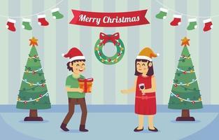 fira jul och utbyta gåvor