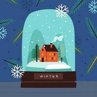 handgezeichnete Winterglaskuppel vektor
