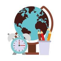 Zurück zur Schulbildung Cartoon mit Globus