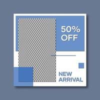 blå och vit sociala medier postmall vektor