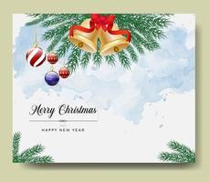 Frohe Weihnachtskarte mit Zweigen und Ornamenten