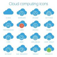 Cloud-Computing-Symbole festgelegt vektor