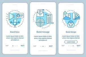 Branding-Elemente auf mobilen App-Seiten vektor