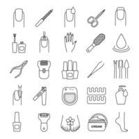 manikyr och pedikyr linjära ikoner set vektor