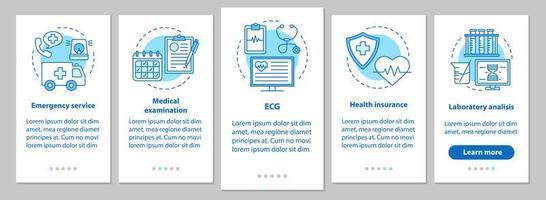 Onboarding mobile App für Medizin und Gesundheitswesen vektor