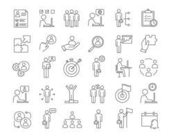 företagsledning linjära ikoner set