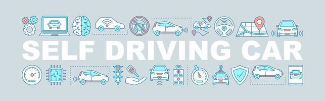 selbstfahrendes Auto Wortdesign vektor