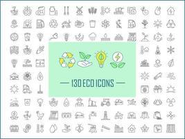 Lineare Symbole für Ökologie und Naturpflege festgelegt vektor