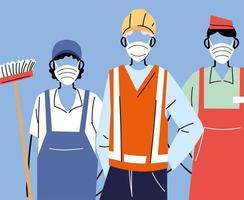 olika yrken med människor som bär ansiktsmasker