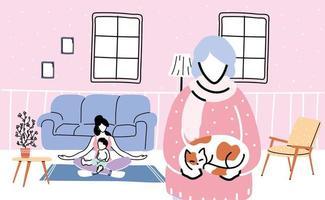 familjemedlemmar stannar hemma från koronaviruspandemin vektor