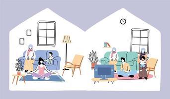 Isolation und soziale Distanzierung bleiben, zu Hause bleiben vektor